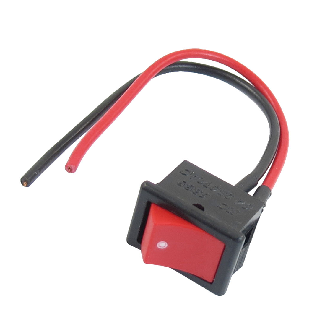 AC 250V 6A 2 SPST On/Off Mini Snap In Boat Rocker Switch Black Red w Wire Lead