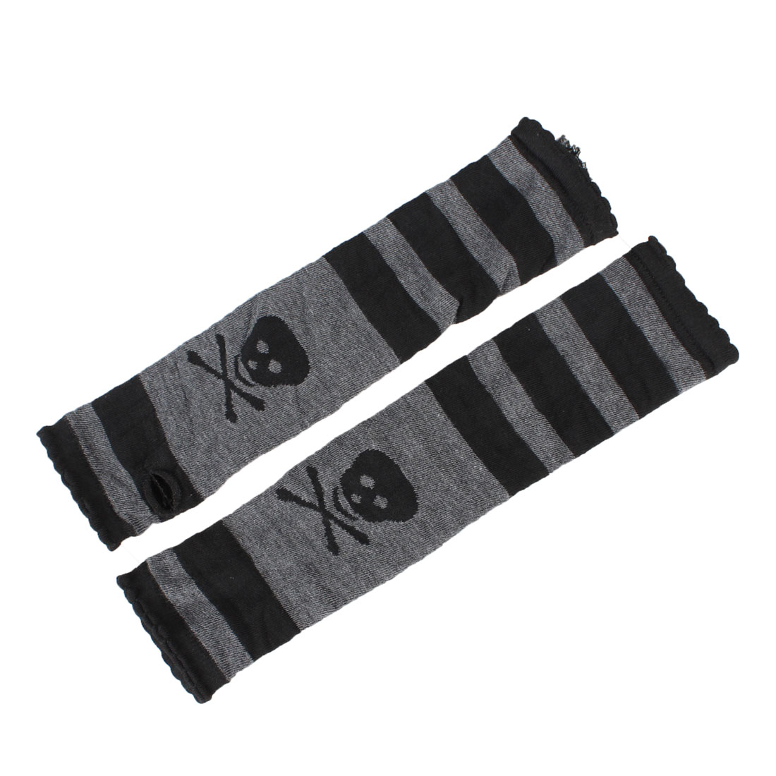 Stripe Skull Print Fingerless Elbow Long Black Gray Gloves Lady Arm Warmer Pair