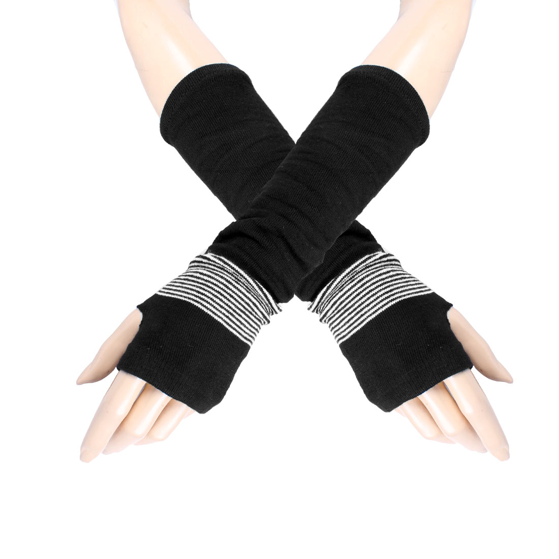 Woman White Striped Elastic Fingerless Elbow Long Gloves Arm Warmers Black Pair