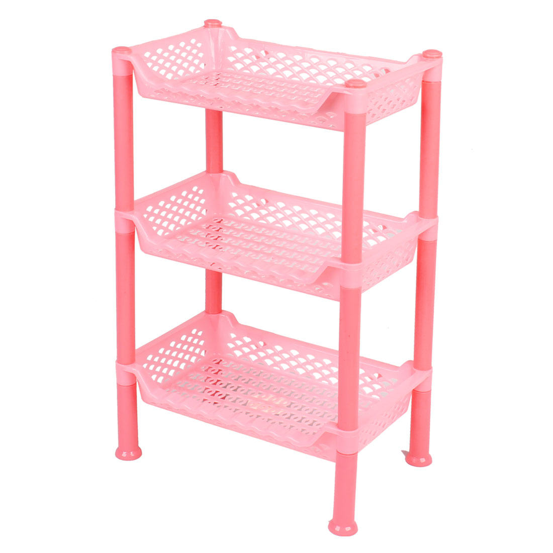 Household Rectangular Pink Plastic 3 Layers Shelf Storage Rack Organizer