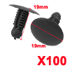 100 Pcs Car Plastic Push in Fastener Rivets Clips Black Fit 9mmx6.5mm Hole