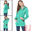 Lady Cyan Blue Long Sleeve Design Novelty Prints Detail Tunic Hoody S