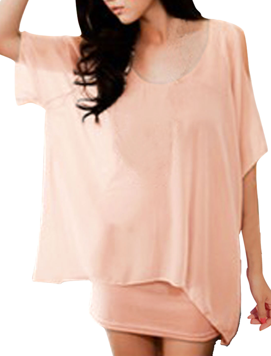 Ladies Light Pink Scoop Neck Two Layer Cut Out Shoulders Mini Dress Xs