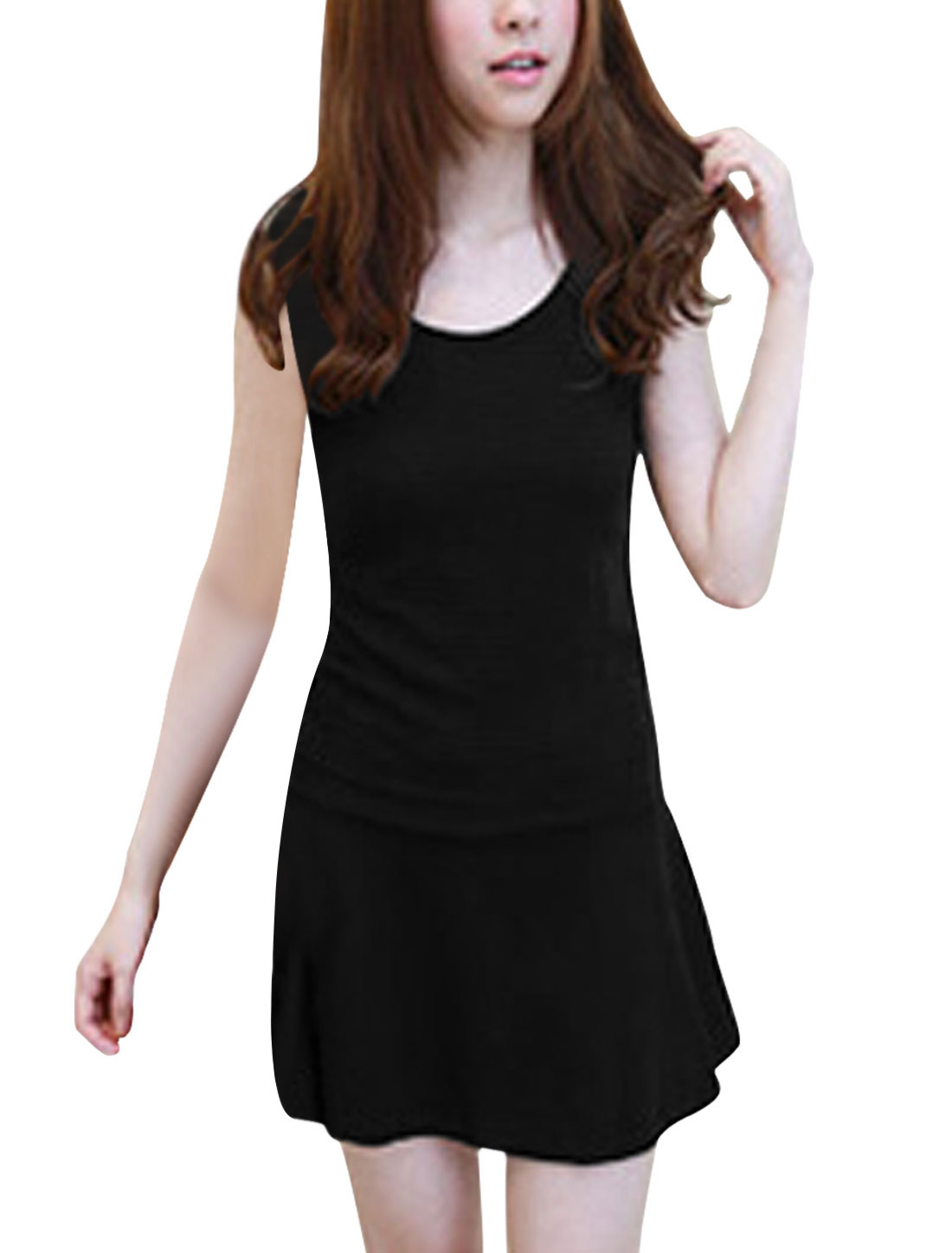 Ladies Black Sleeveless Casual Summer Mini Dress Xs
