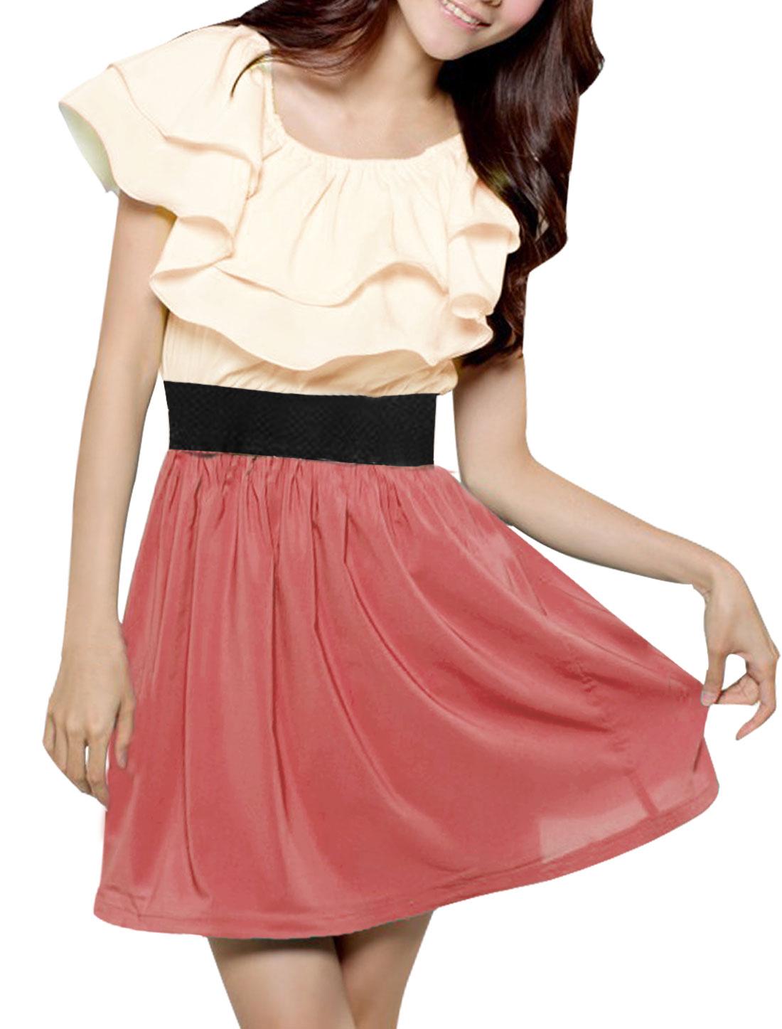 Lady Watermelon Red Beige Off Shoulder Short Sleeve Semi Sheer Elastic Waist Chiffon Dress S