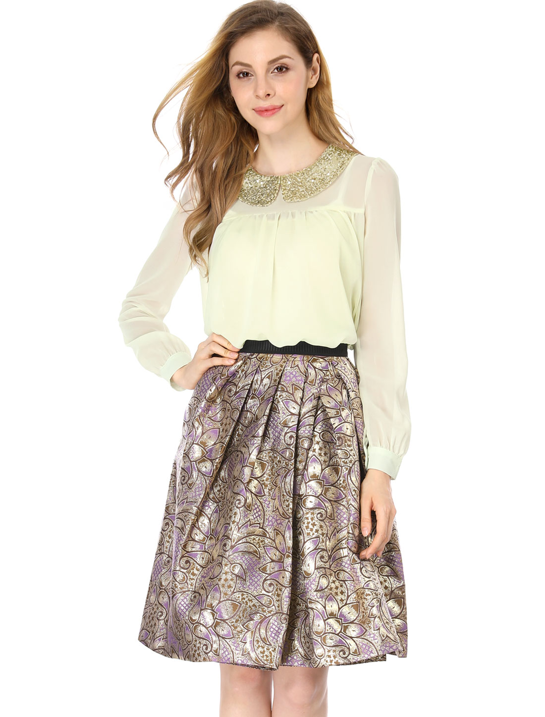 Ladies Long Sleeve Peter Pan Collar Chiffon Shining Sequined Shirt Beige S