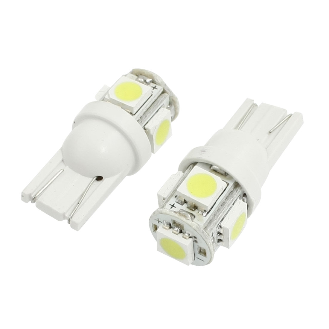 2 Pcs T10 W5W White 5 5050 SMD LED Car Side Wedge Turning light Lamp Bulb