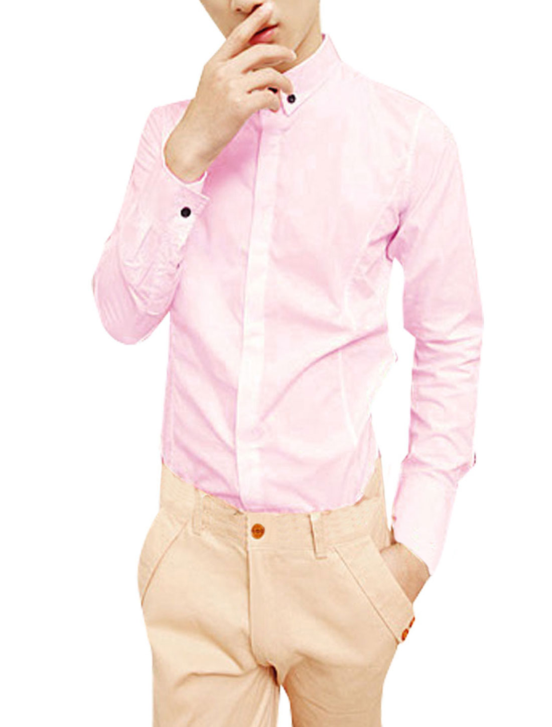 Mens New Fashion Pink Buttoned Cuff Long Sleeve Spring Bottoming Shirt M