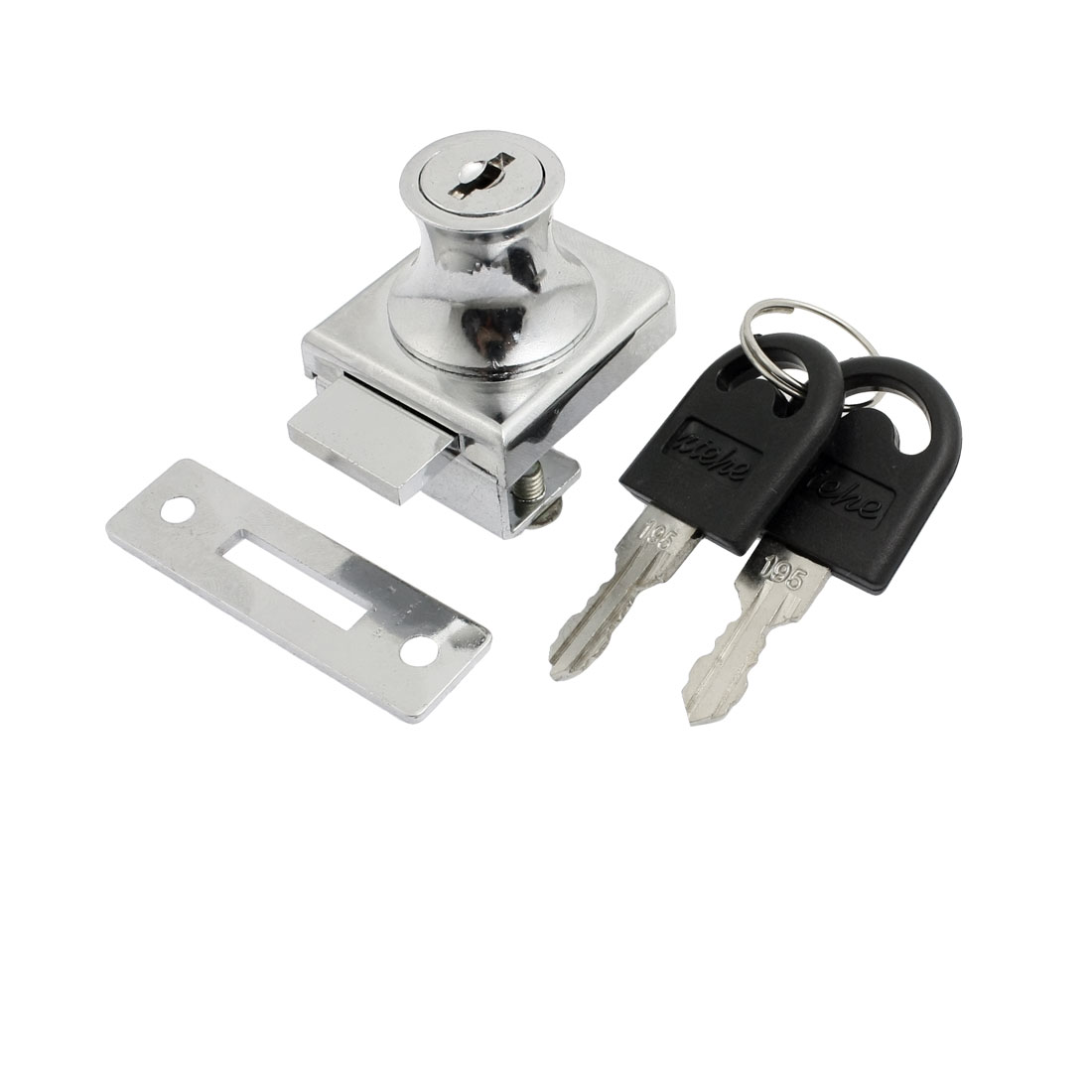 "Replacment Silver Tone Keyed Cabinet Lock for 2/5"" Hinged Glass Door"