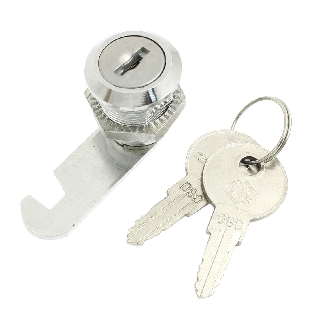 Cabinet 18.5mm Dia Male Thread Cam Lock Silver Tone w 2 Keys