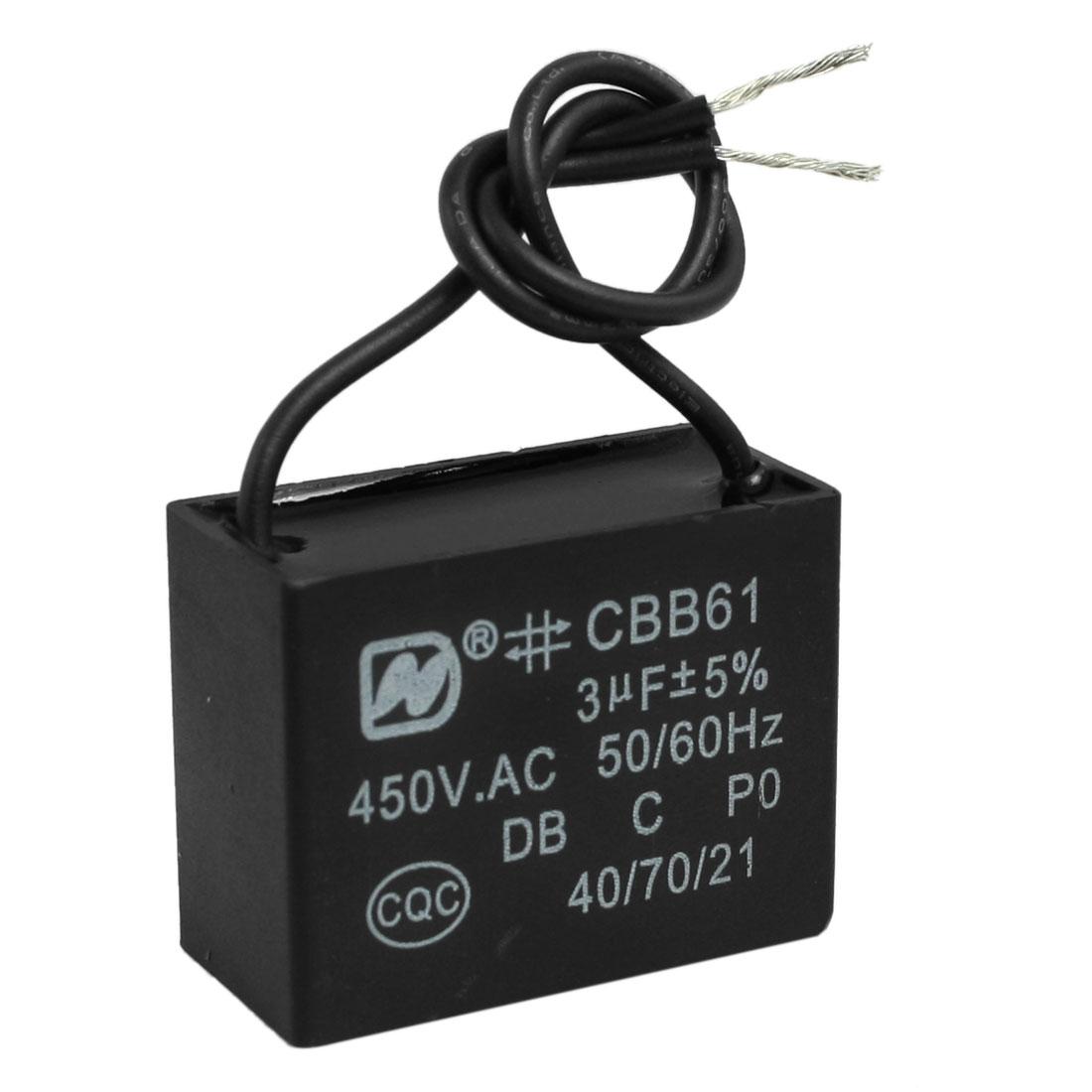 CBB61 AC 450V 3uF 50/60 Hz Wire Motor Run Capacitor
