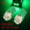 2 Pcs T10 W5W Green 10 3528 1210 SMD LED Car Side Wedge light Lamp Bulb