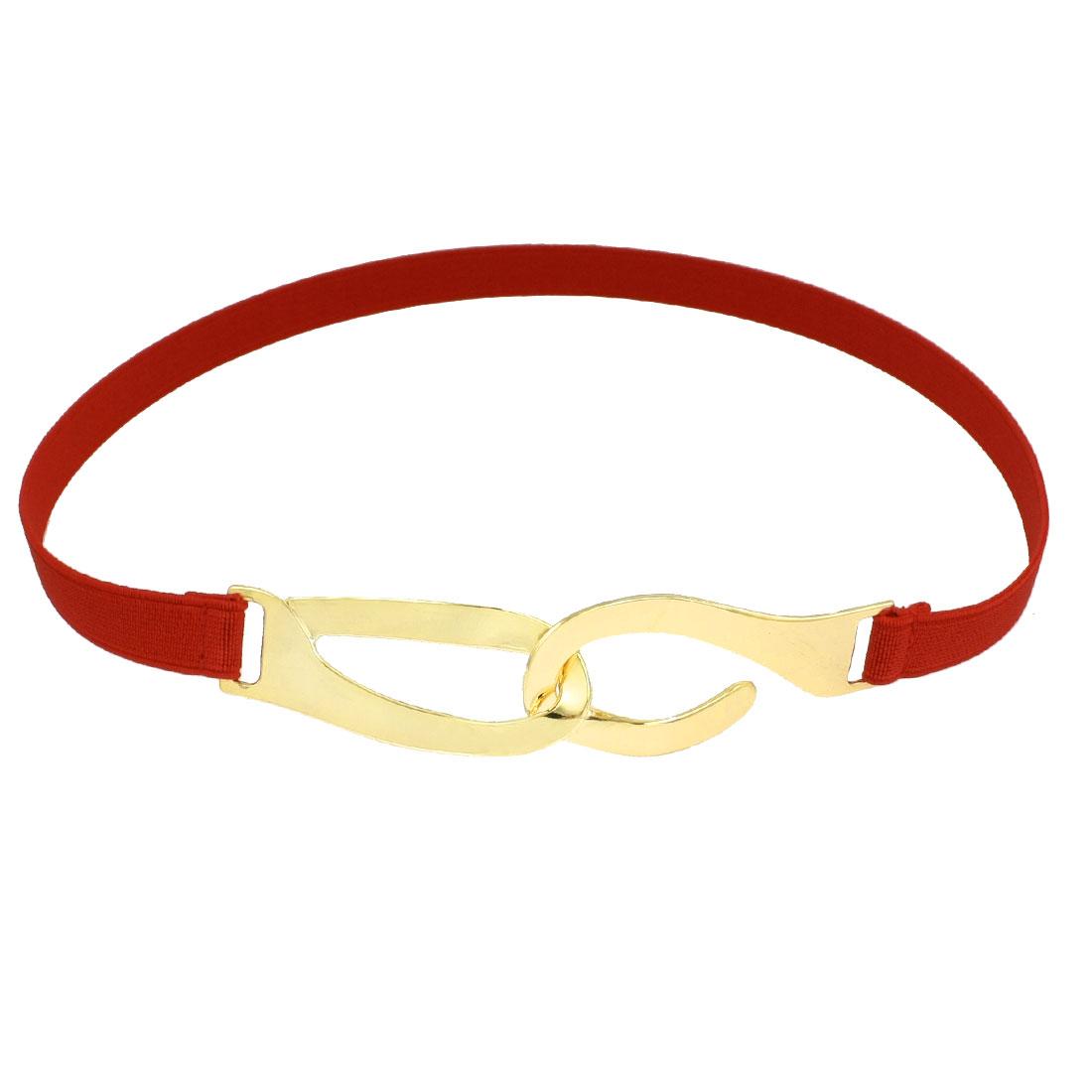 Gold Tone Interlocking Closure Elastic High Waistband Slim Waist Belt Red for Woman