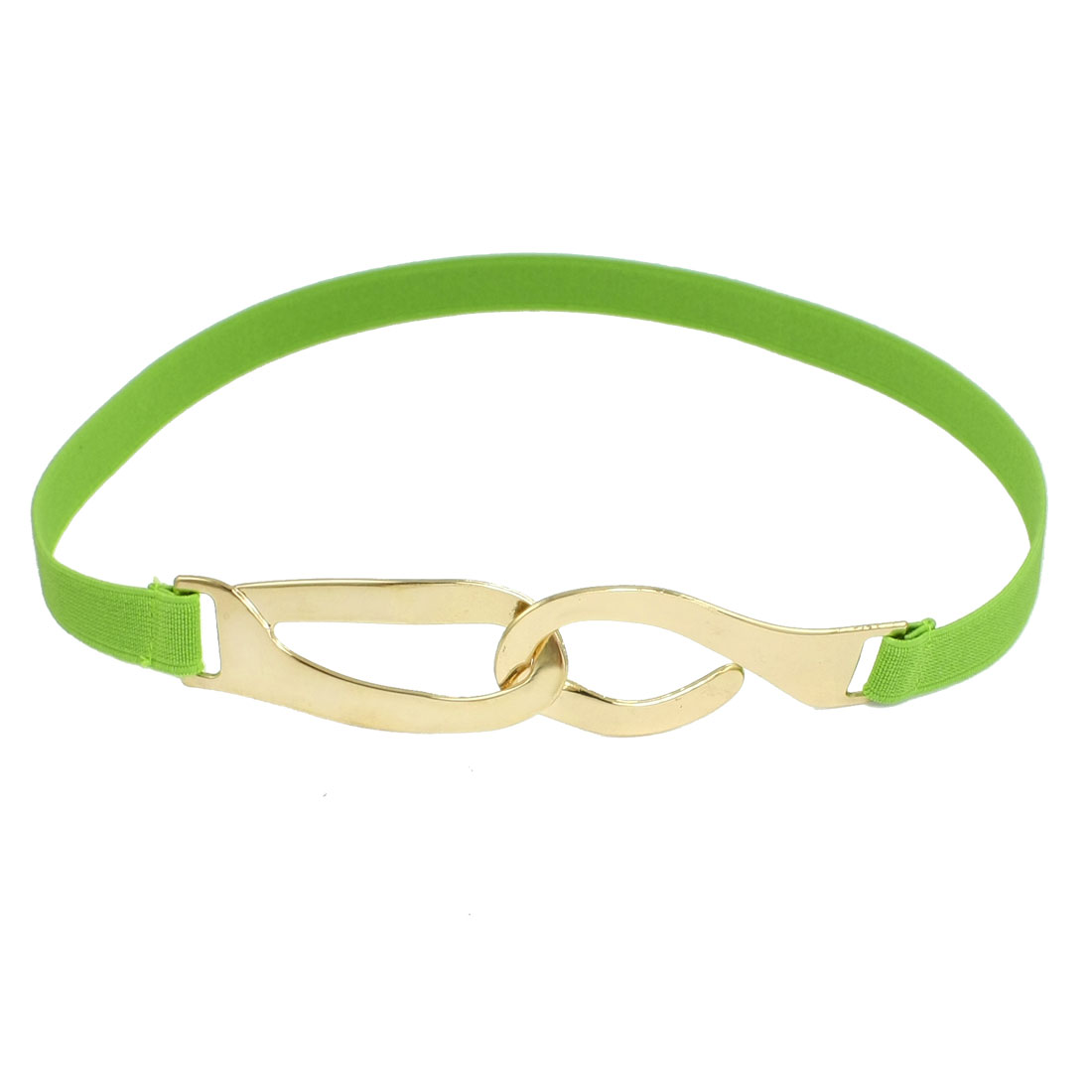 Women Metallic Interlocking Closure Textured Elastic Band Slim Waist Belt Green