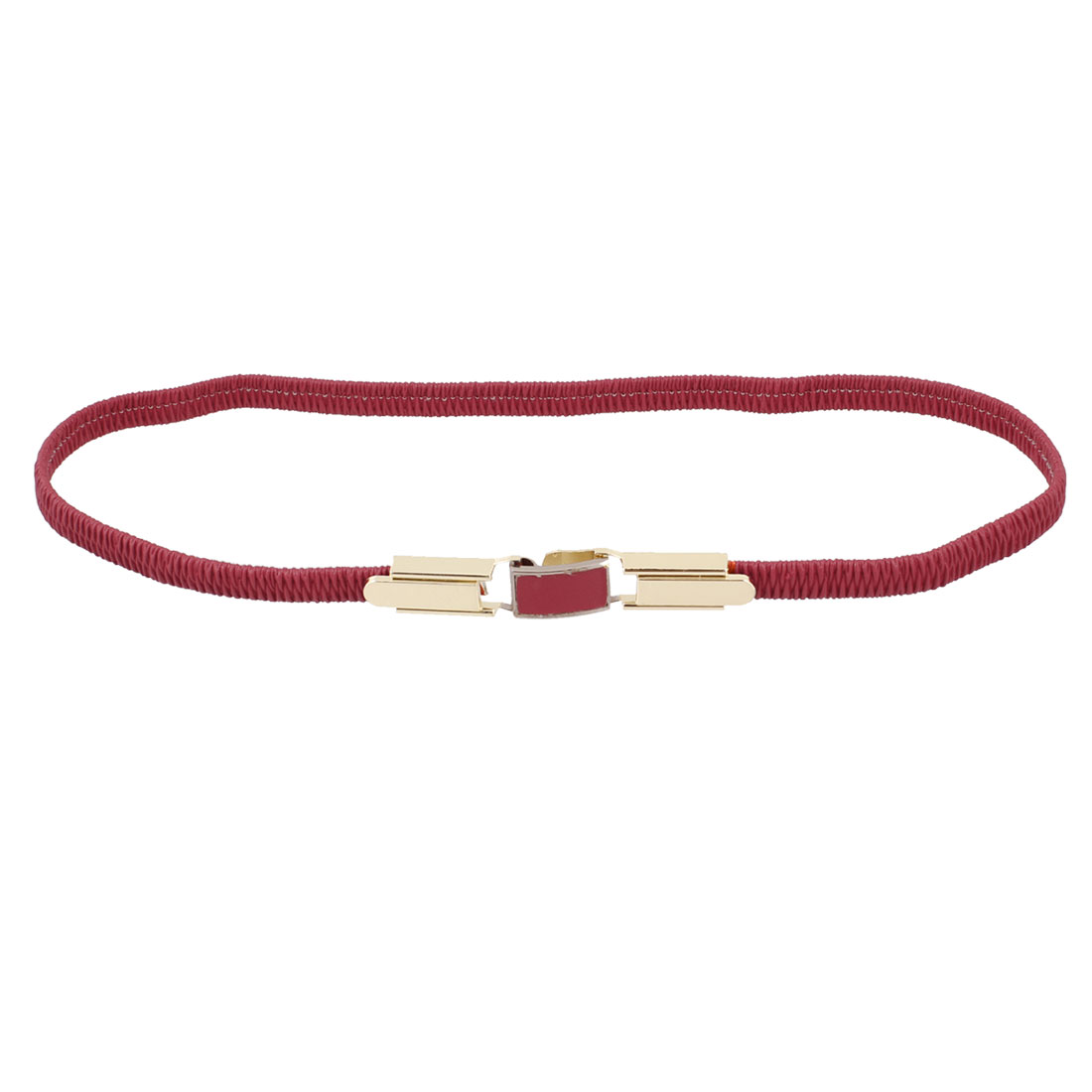 Women Interlock Buckle Ruched Faux Leather Elastic Band Waist Belt Red