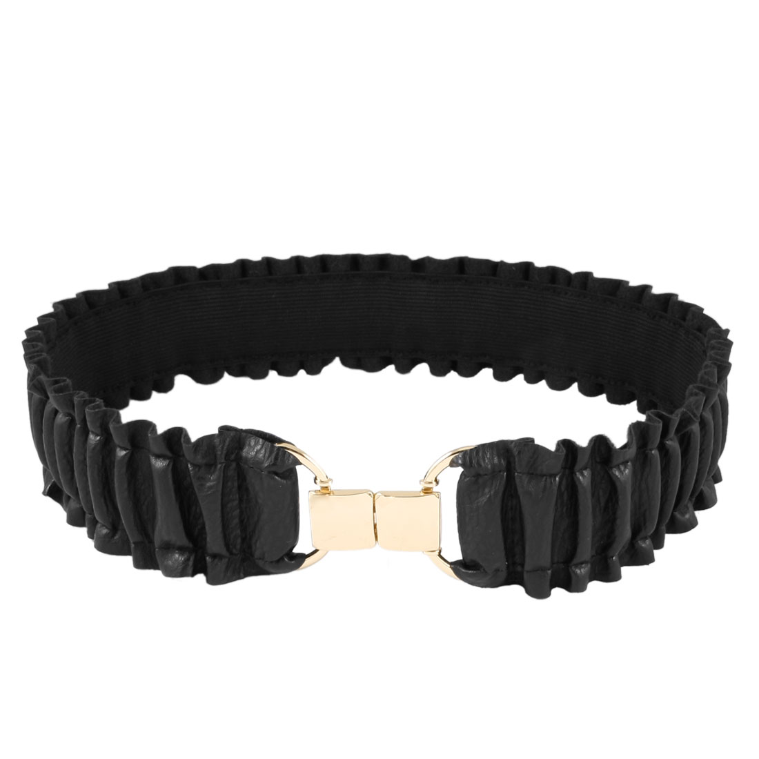 "Ladies Black Ruffle Faux Leather Stretchy Waistband Waist Belt 1.9"" Width"