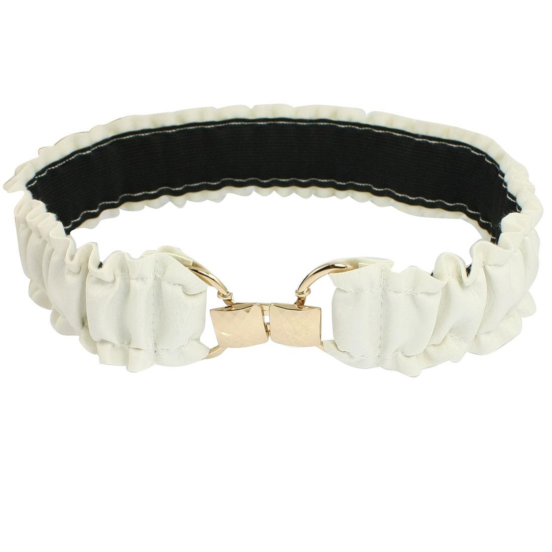 Lady Gold Tone Interlocking Closure Ruched Faux Leather Elastic Waist Belt White