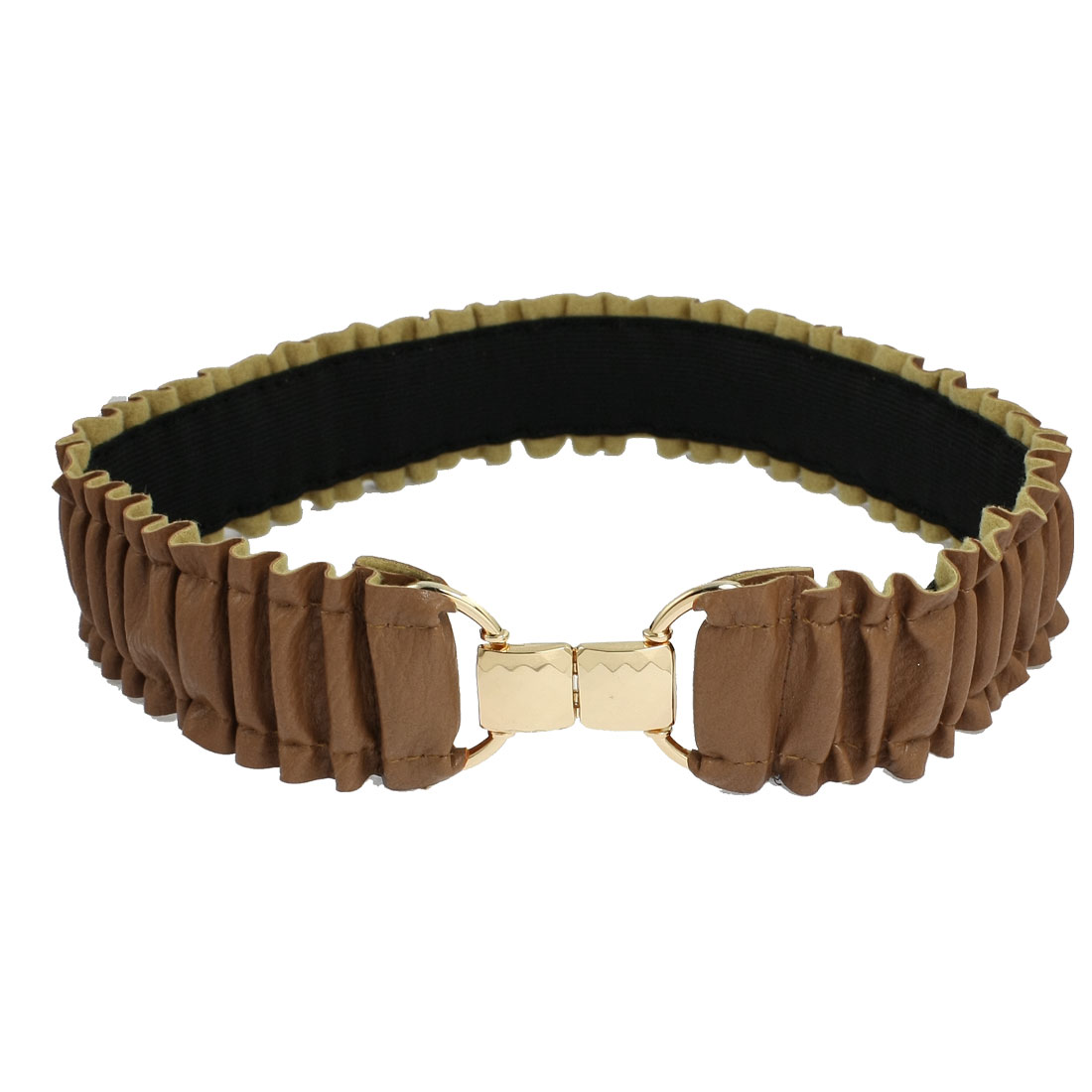 Lady Metal Square Interlocking Buckle Brown Ruffle Faux Leather Stretch Waist Belt