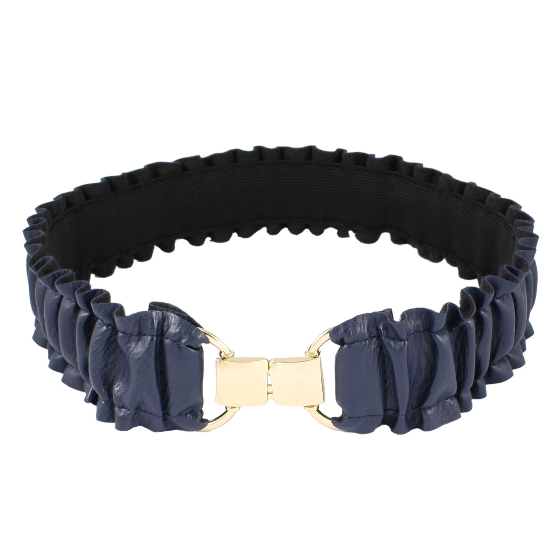 "Dark Blue Pleated Faux Leather Elastic Band Waist Belt 1.9"" Width for Women"