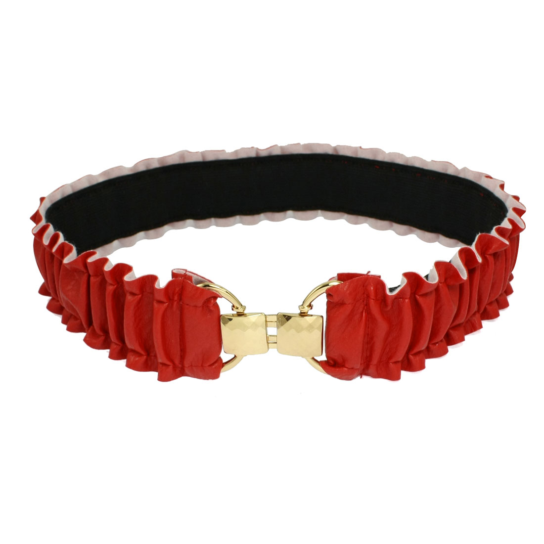 Lady Gold Tone Square Interlocking Closure Pleated Faux Leather Spandex Waist Belt Red