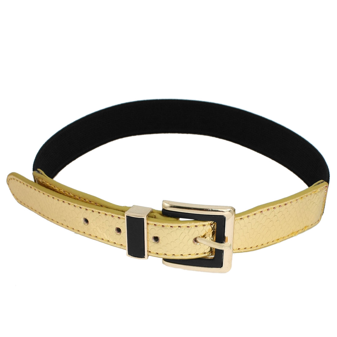 Women Single Pin Buckle Gold Tone Faux Leather Snake Pattern Stretchy Waist Belt Black