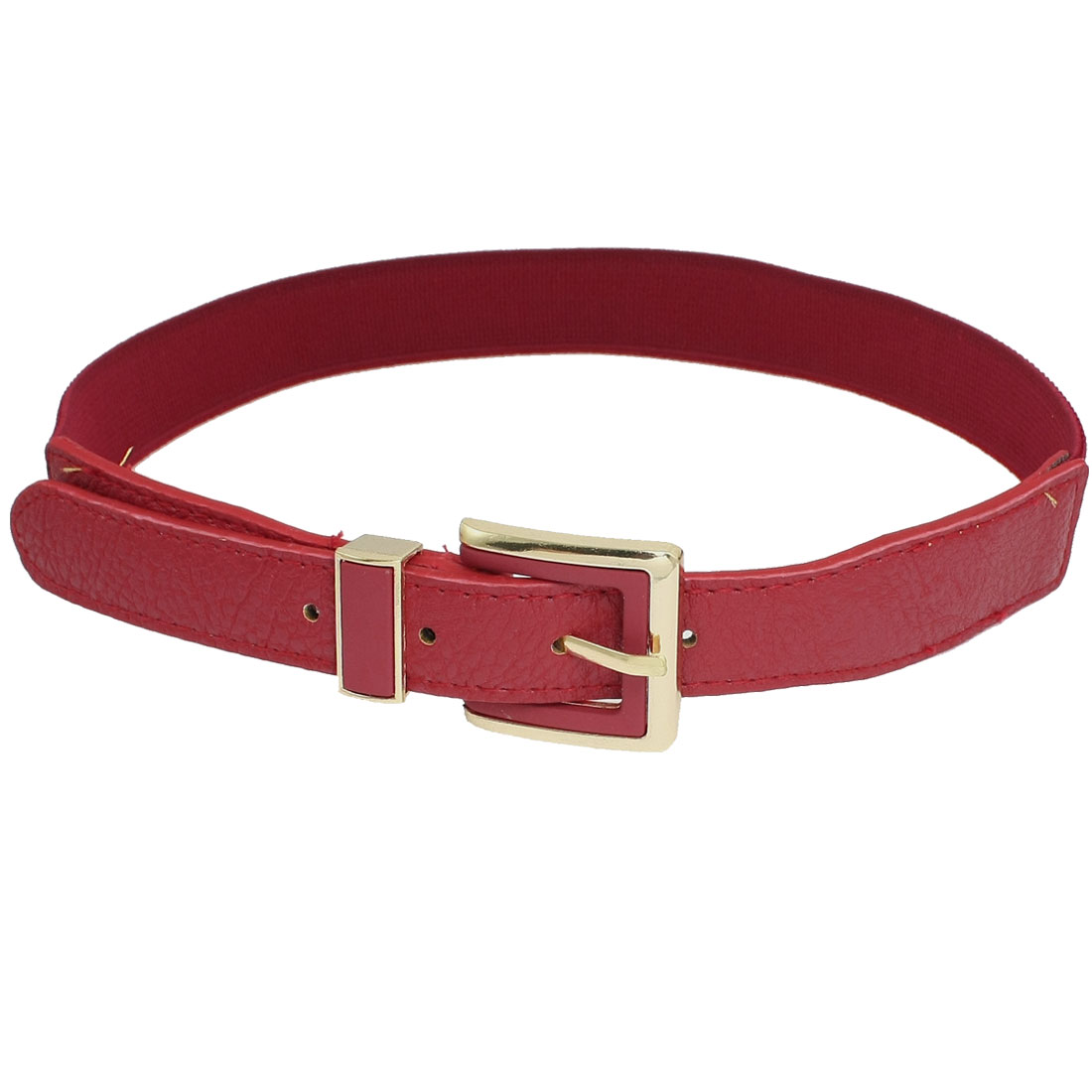 Gold Tone Single Pin Closure Red Faux Leather Textured Elastic Waist Belt for Women