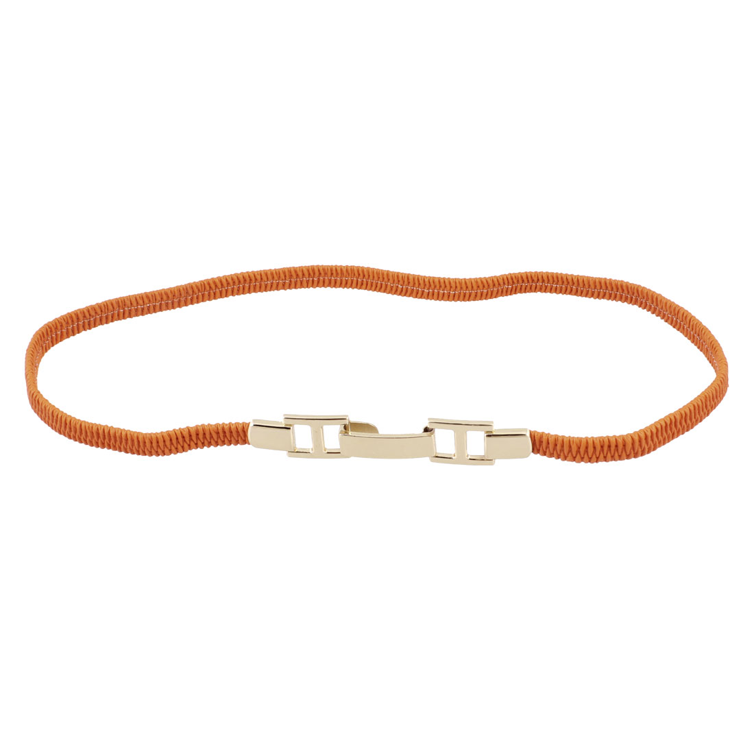 "Ladies Interlocking Buckle Stretchy Slim Waist Belt 0.4"" Width Orange"