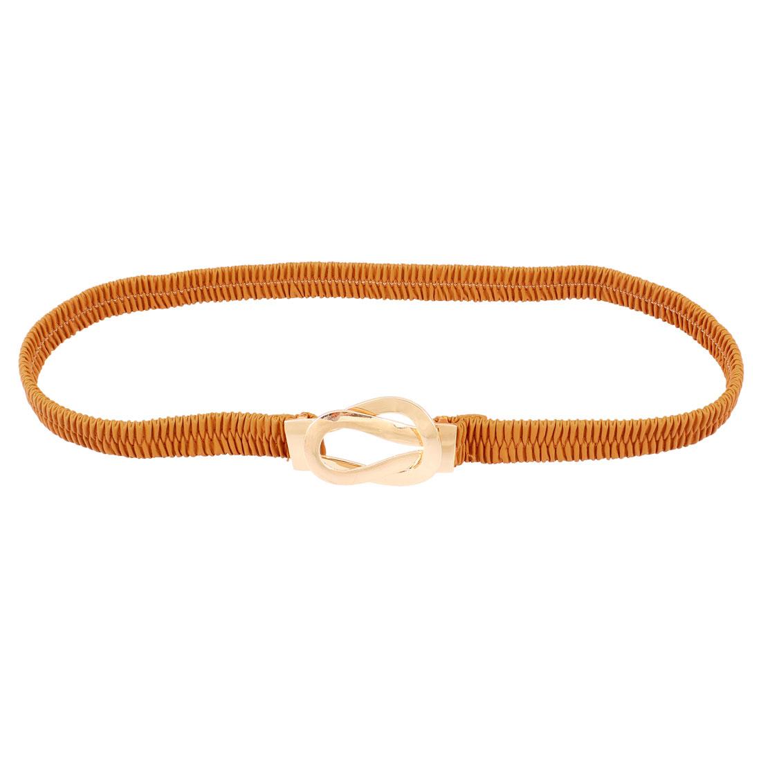 Ladies Gold Tone Bulb Design Interlock Buckle High Stretchy Waist Belt Brown