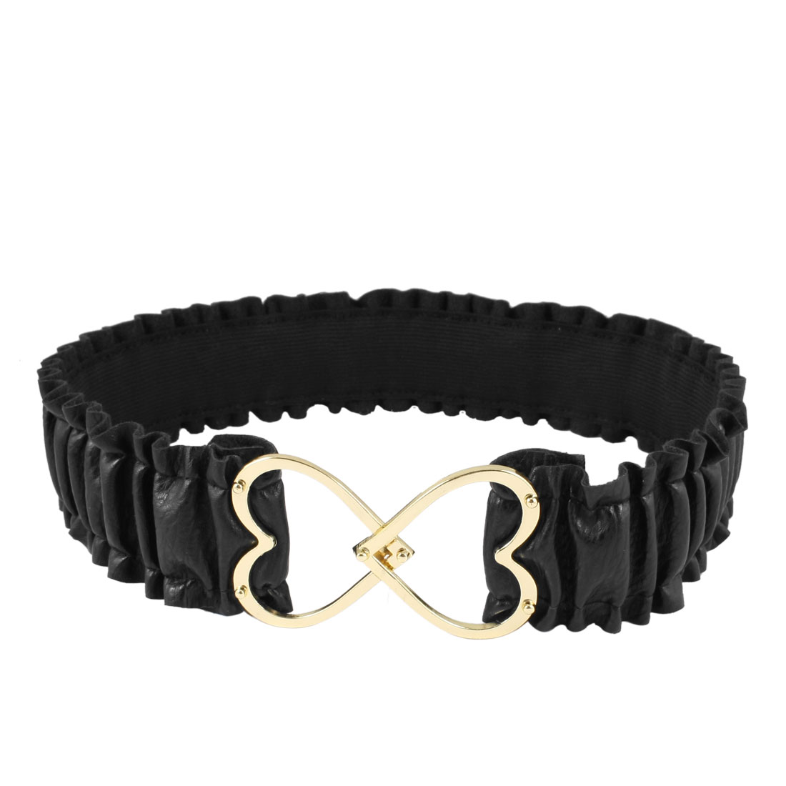 Women Gold Tone Metallic Hearts Buckle Black Pleated Faux Leather Stretch Waist Belt