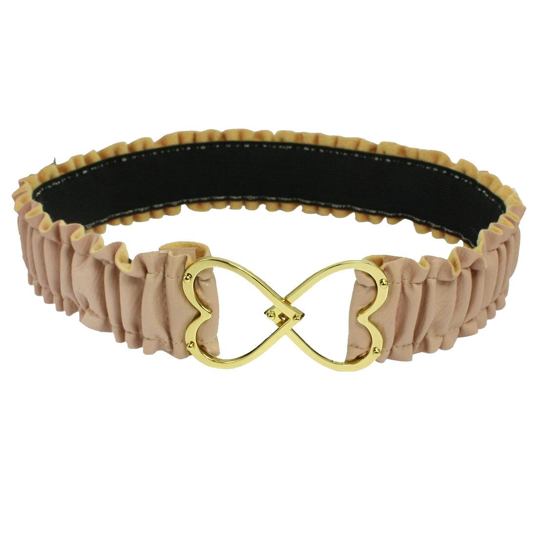 Woman Gold Tone Metal Heart Buckle Khaki Pleated Faux Leather Elastic Waist Belt