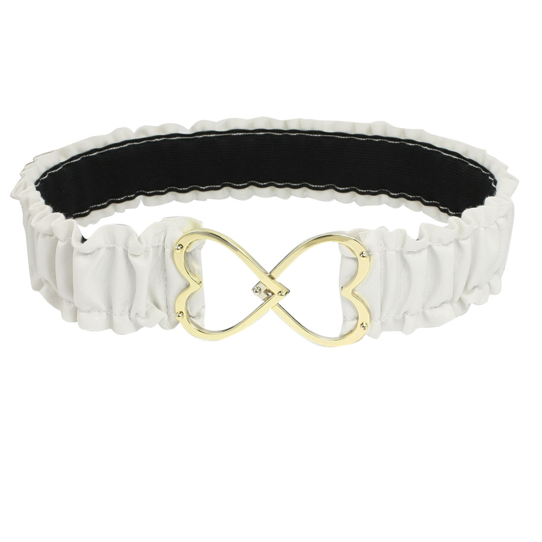 Women Metal Hearts Interlocking Buckle White Ruched Faux Leather Elastic Waist Belt