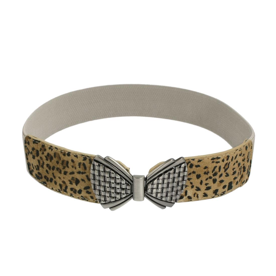 Lady Interlocking Closure Leopard Pattern Faux Leather Stretchy Waist Belt Khaki