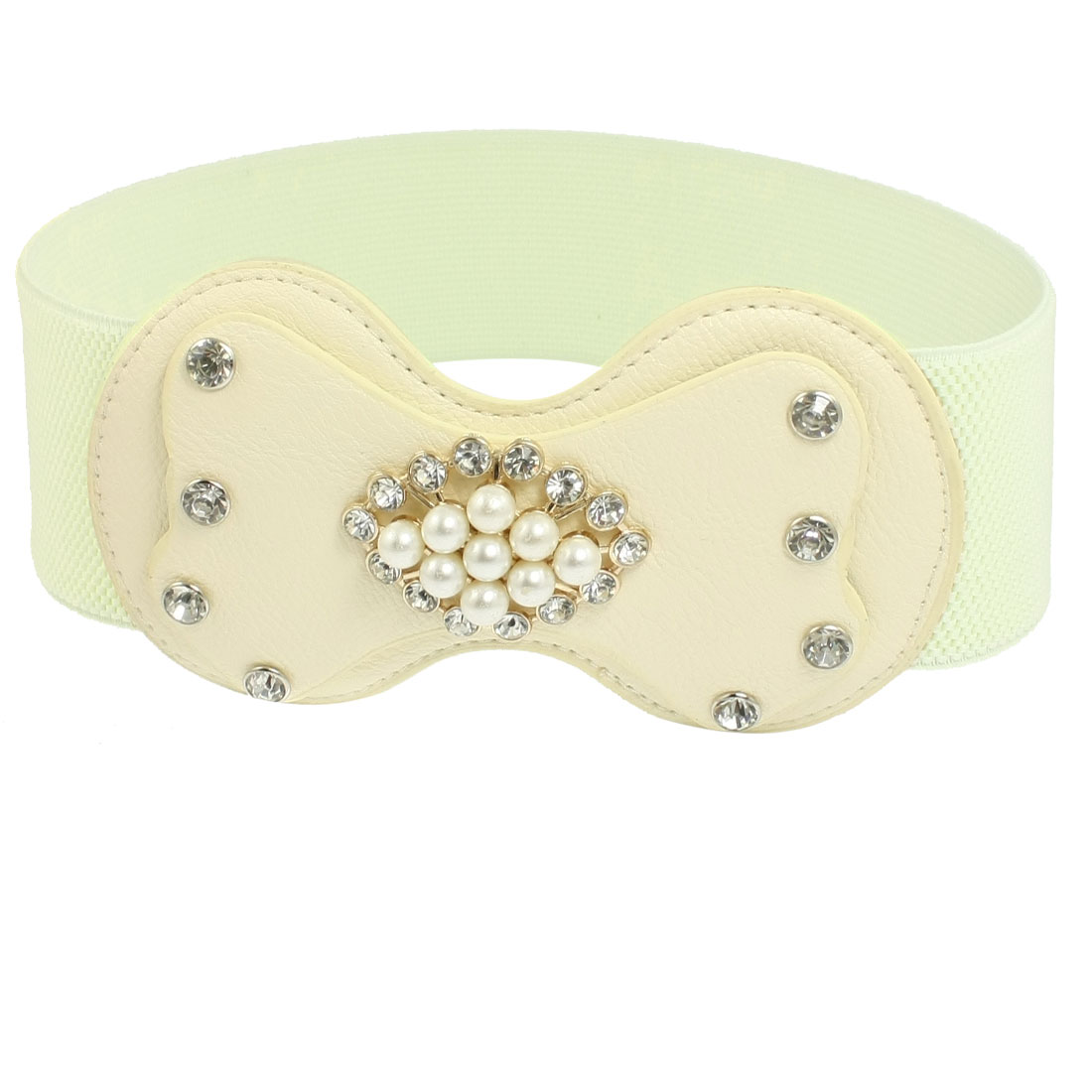 Woman Faux Leather Bowknot Buckle Rhinestones Inlaid Stretchy Waist Belt Beige