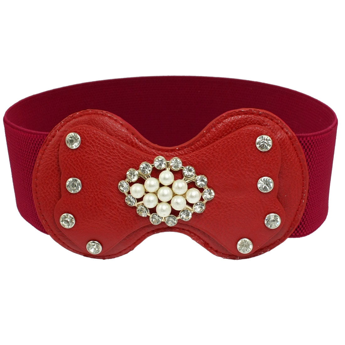 Lady Faux Leather Bowknot Buckle Faux Pearl Accent Stretchy Waist Belt Red
