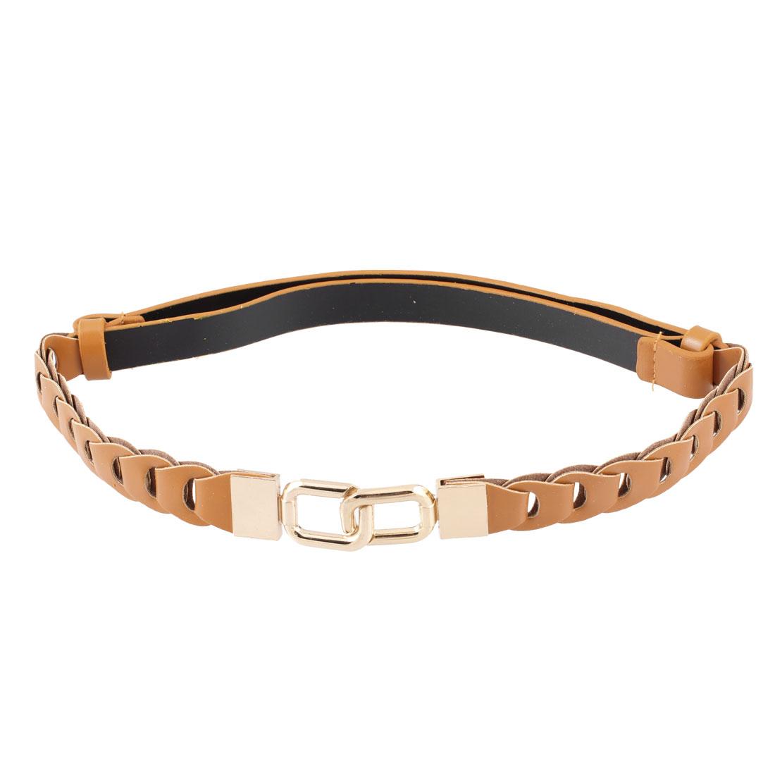 Lady Gold Tone 8 Shaped Interlocking Buckle High Stretchy Waist Belt Orange