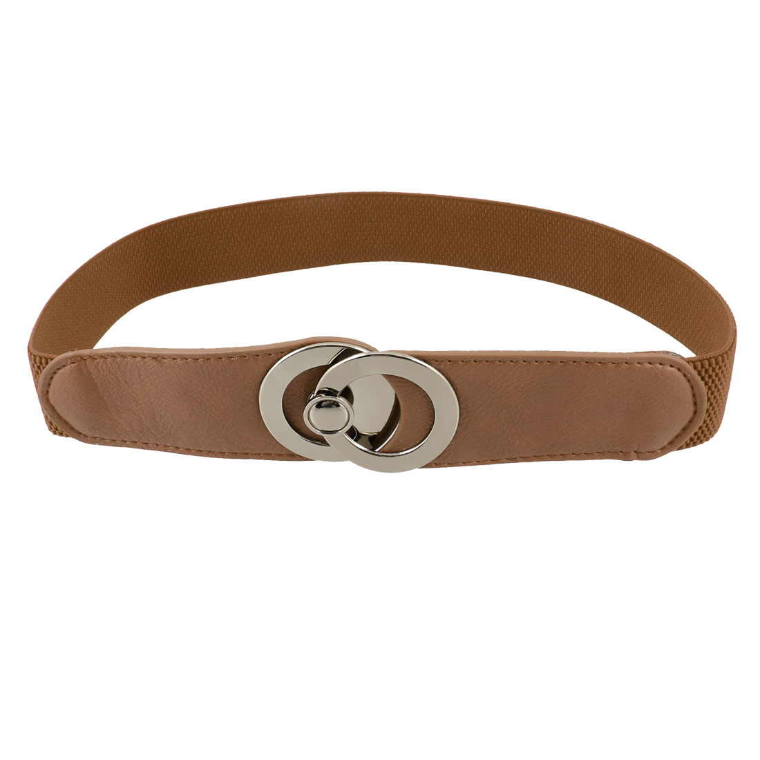 Lady Gold Tone Circles Design Interlock Buckle High Stretchy Waist Belt Brown