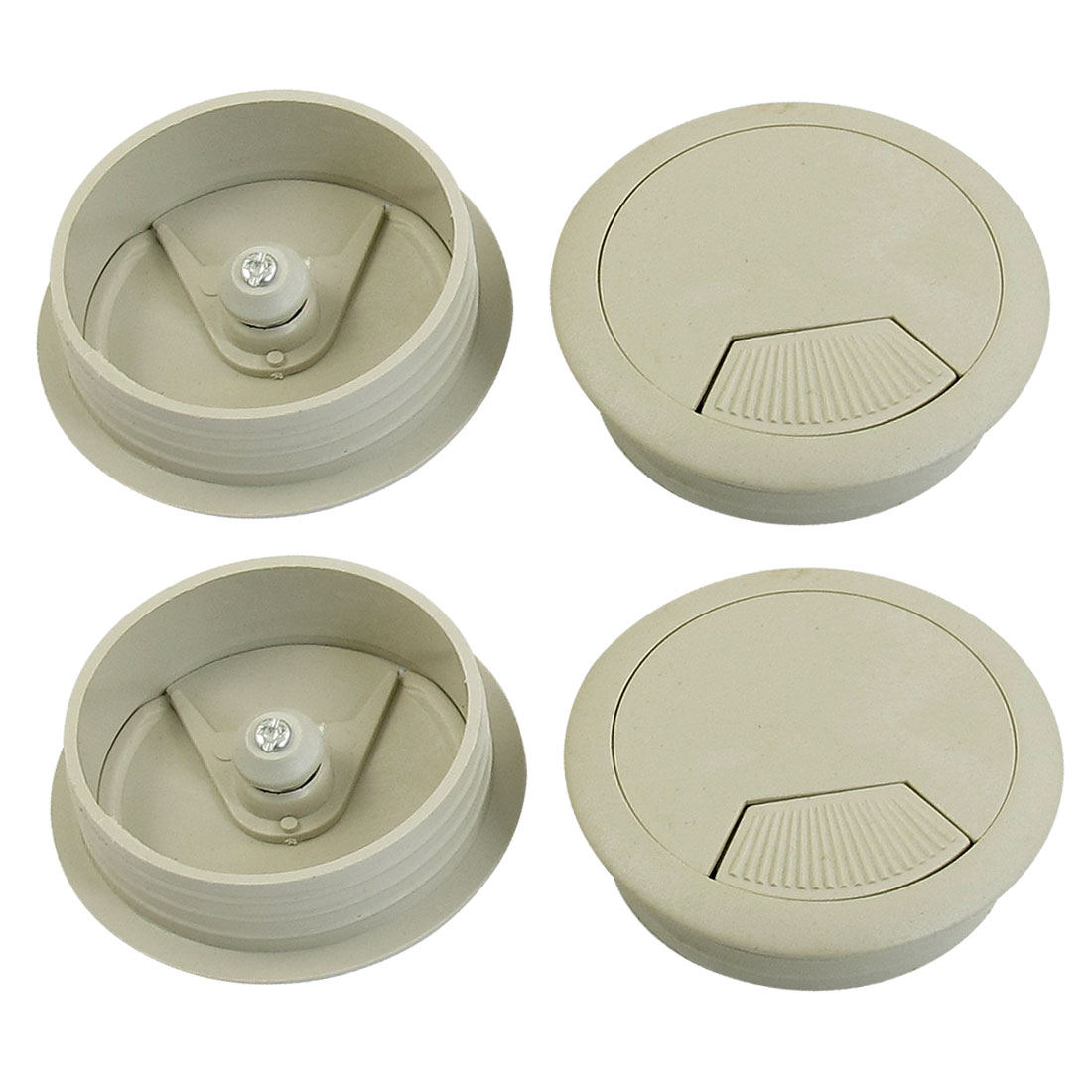 Plastic Gray Grommet Cable Hole Cover 50mm Dia 4pcs for Computer Table