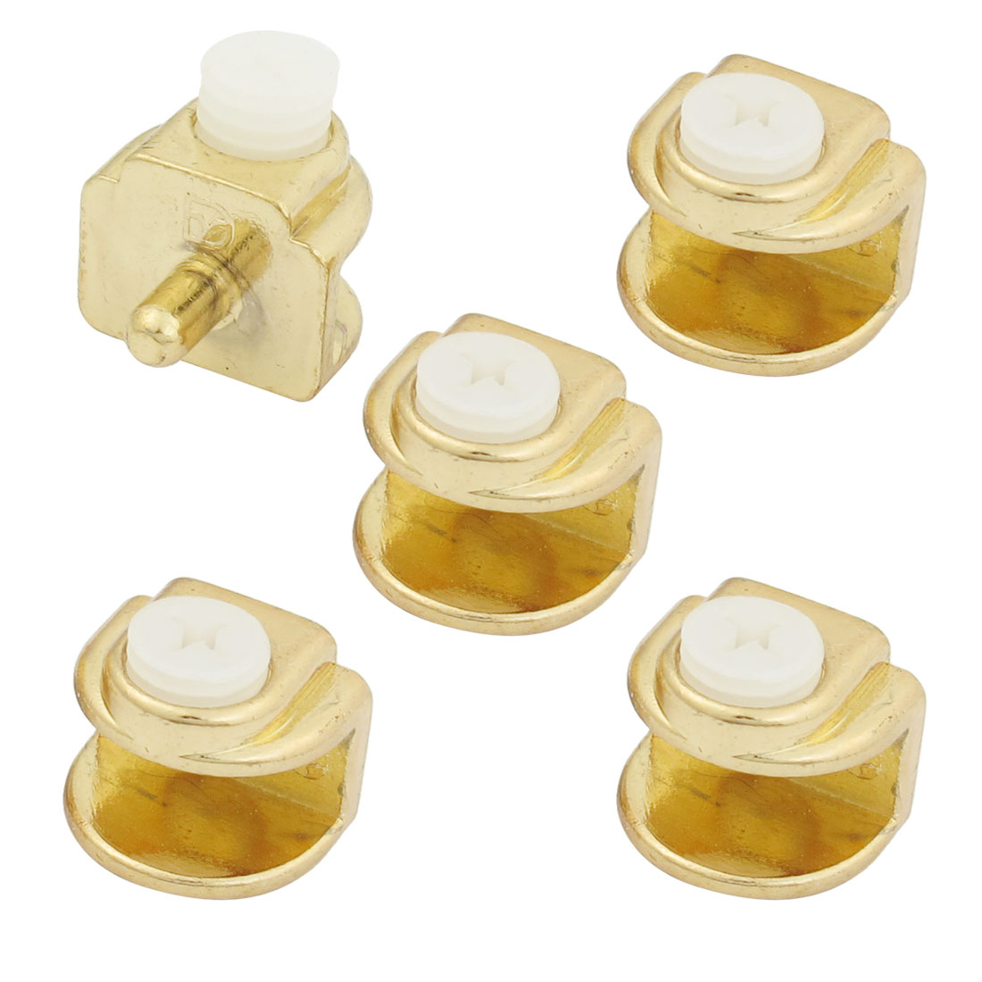 5 Pcs 4mm-8mm Thickness Screw Adjustable Gold Tone Glass Clips