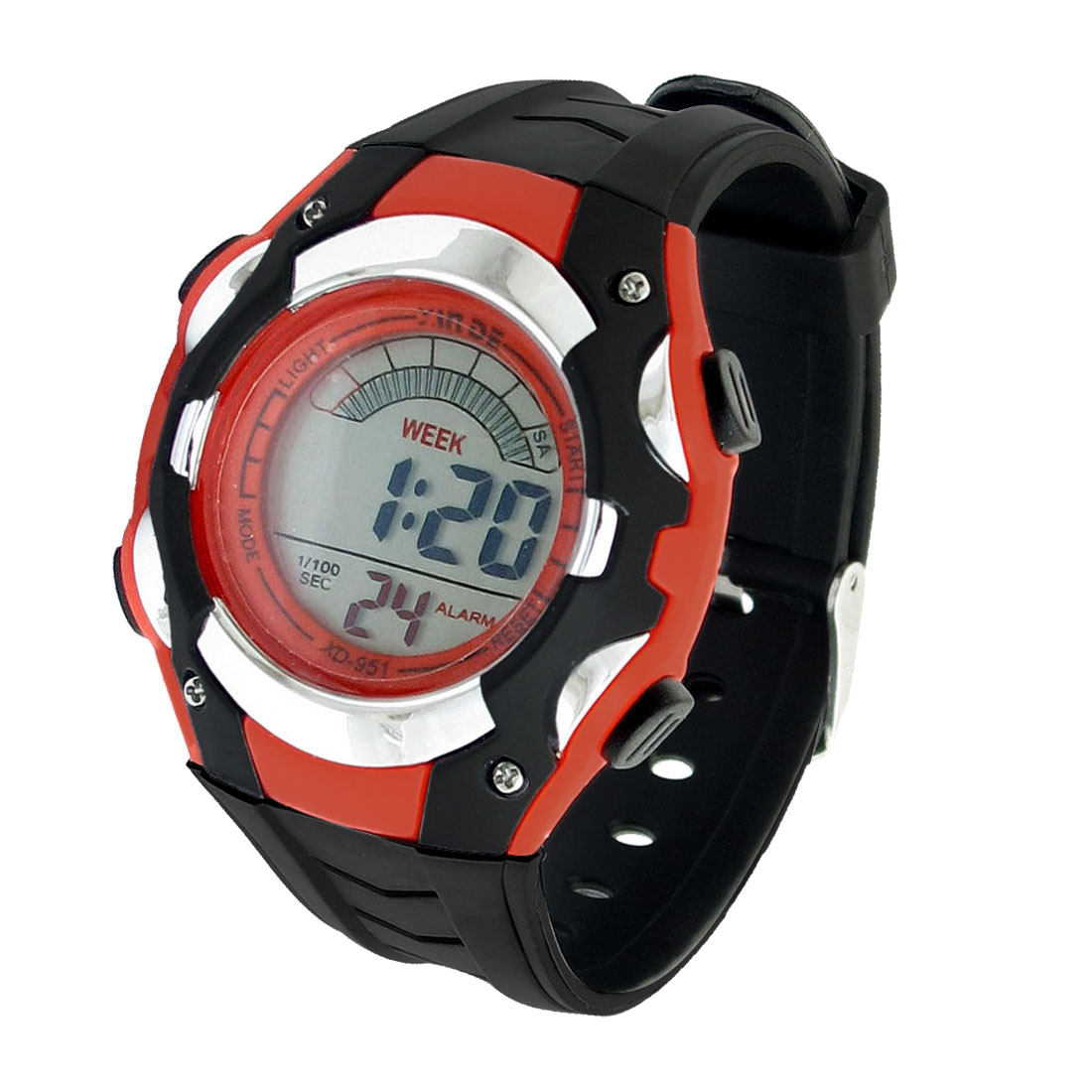 Red Black LCD LED Digital Diaplay Alarm Clock Sport Wrist Watch for Kid