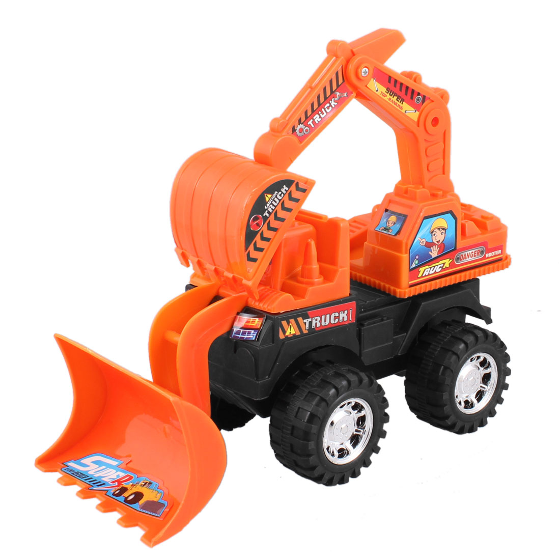 Kid Orange Black Plastic Machinery Bulldozer Truck Digger Car Toy