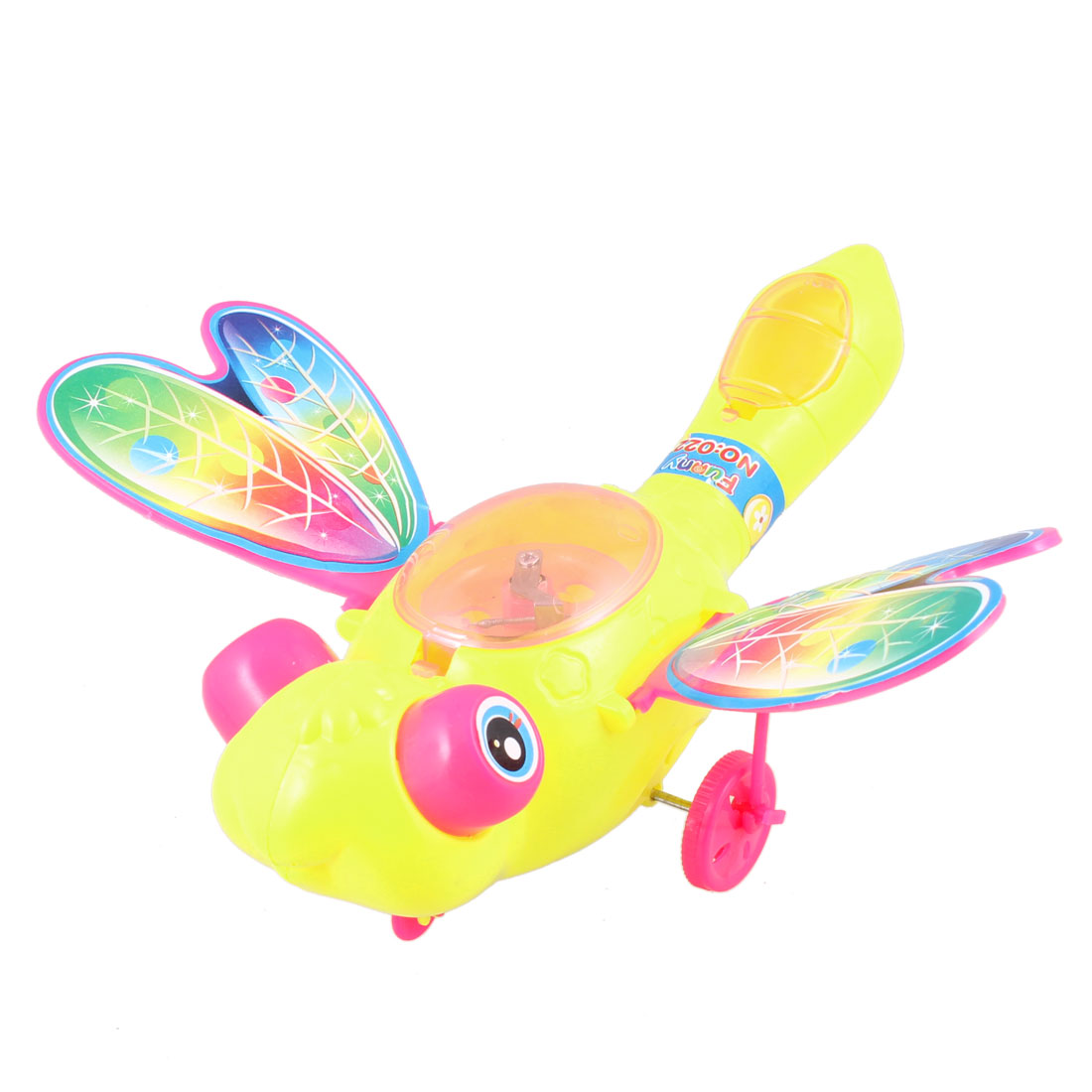 Yellow Body Magenta Swaying Wings Pull String Flash Dragonfly Toy