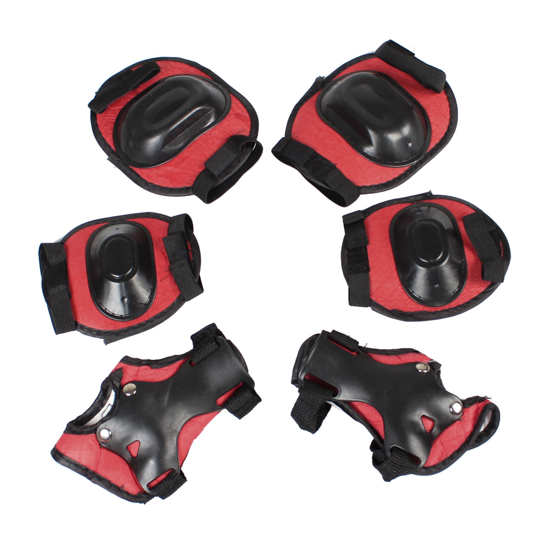 Children Skating Pads Palm Knee Elbow Support Protector Set Black Red