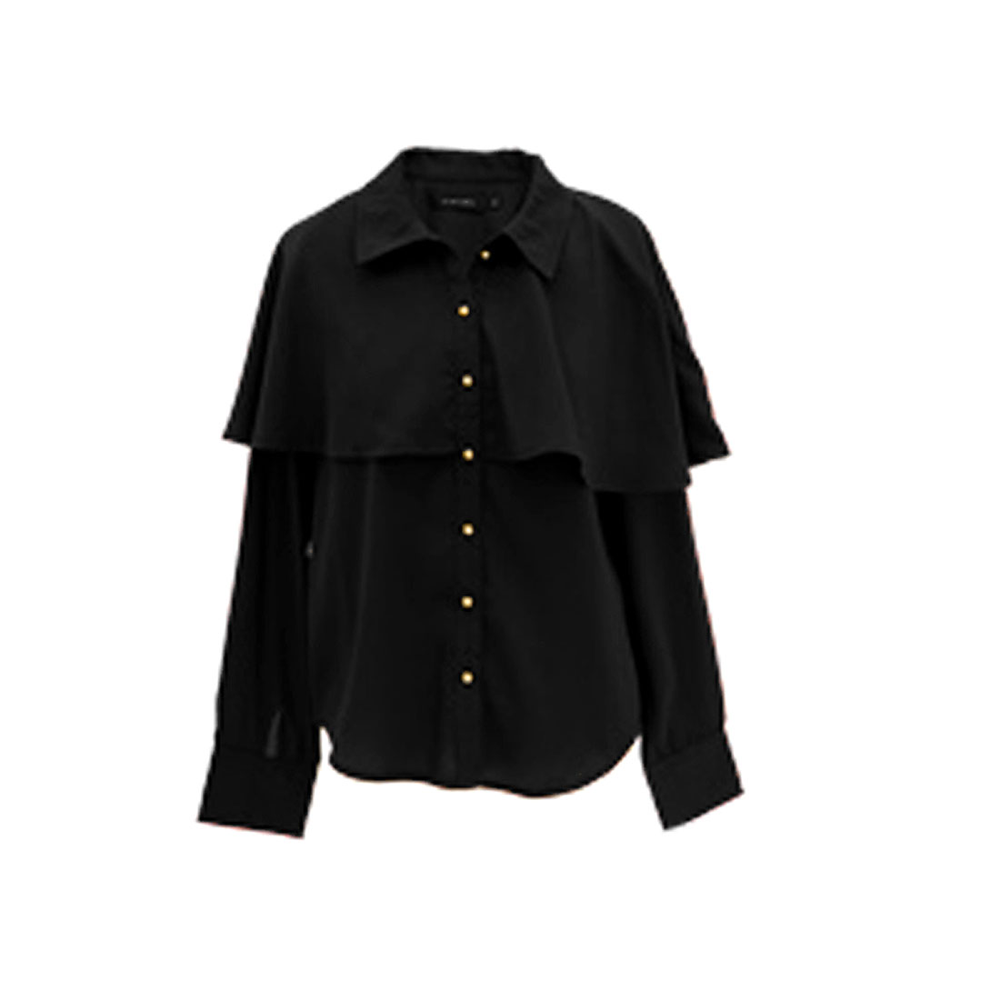 Ladies Black Long Sleeve Cape Design Button Down Round Hem Casual Shirt S
