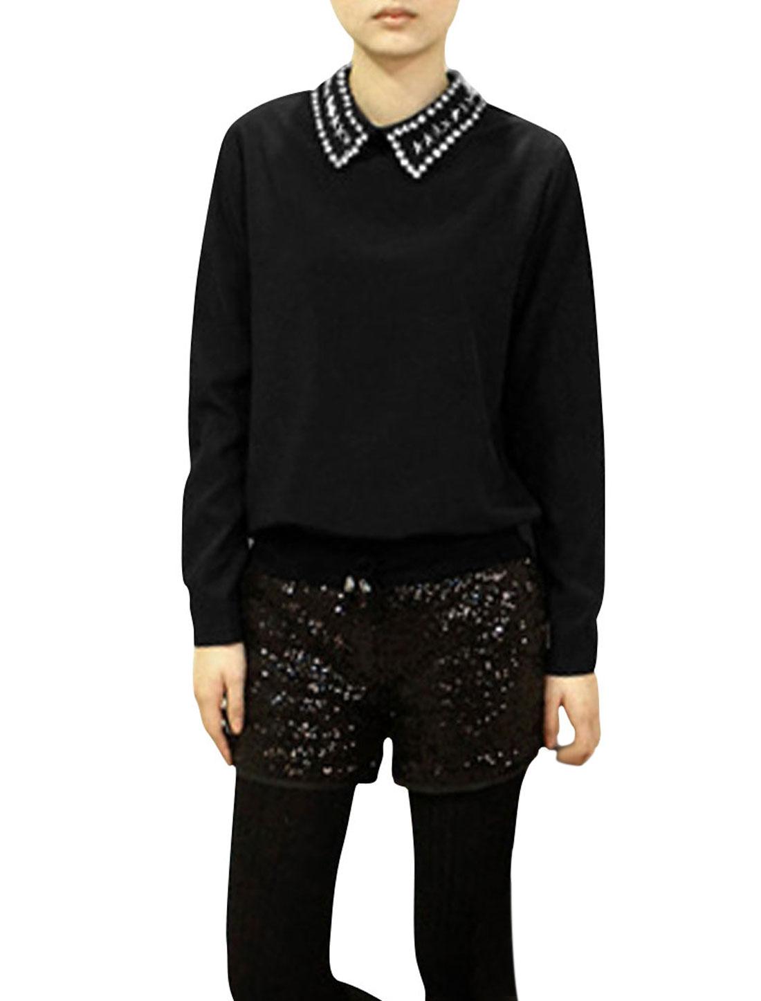 Rhinestone Decor Neckline Single Breasted Back Long Sleeve Woman Shirt Black S