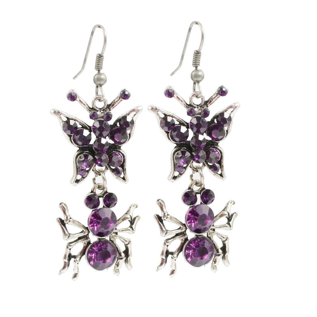 Pair Purple Faux Rhinestone Butterfly Spider Design Pendant Fish Hook Earrings