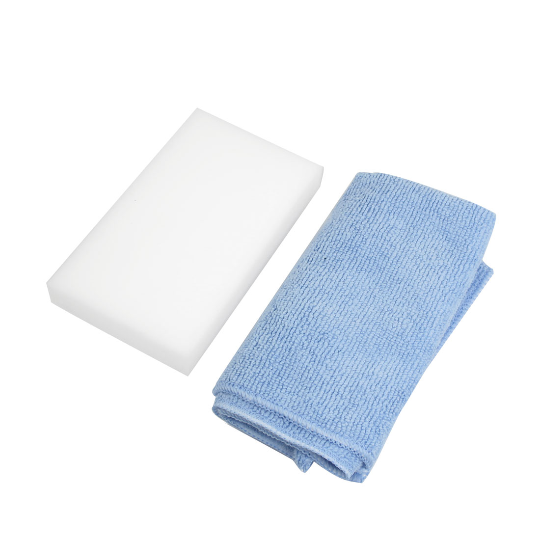 Vehicles Car Cleaning Washing Tool White Sponge Pad Mat w Blue Towel 2 in 1 Sets