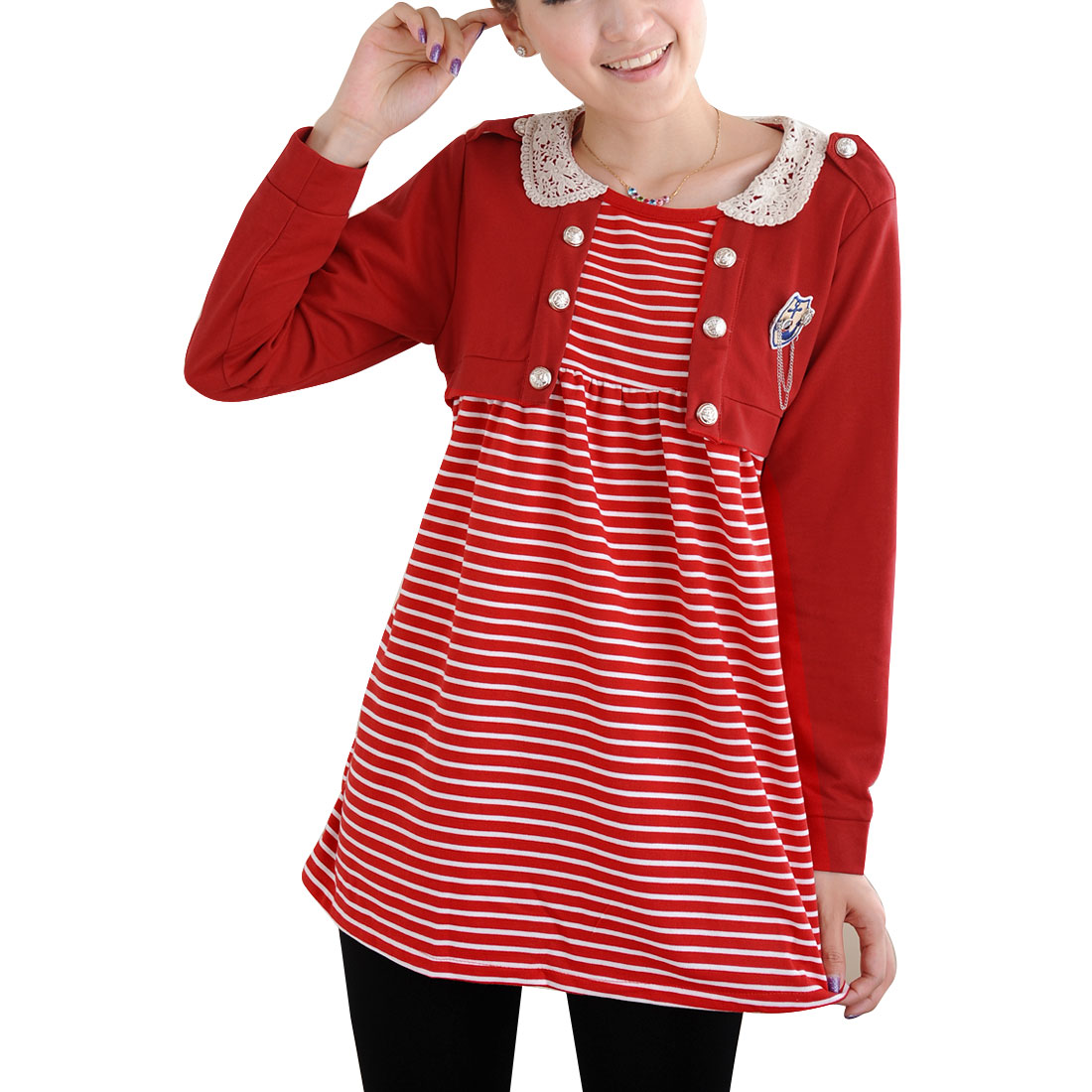 Pregnant Woman Red White Stripes Scoop Neck Pullover Blouse Top M