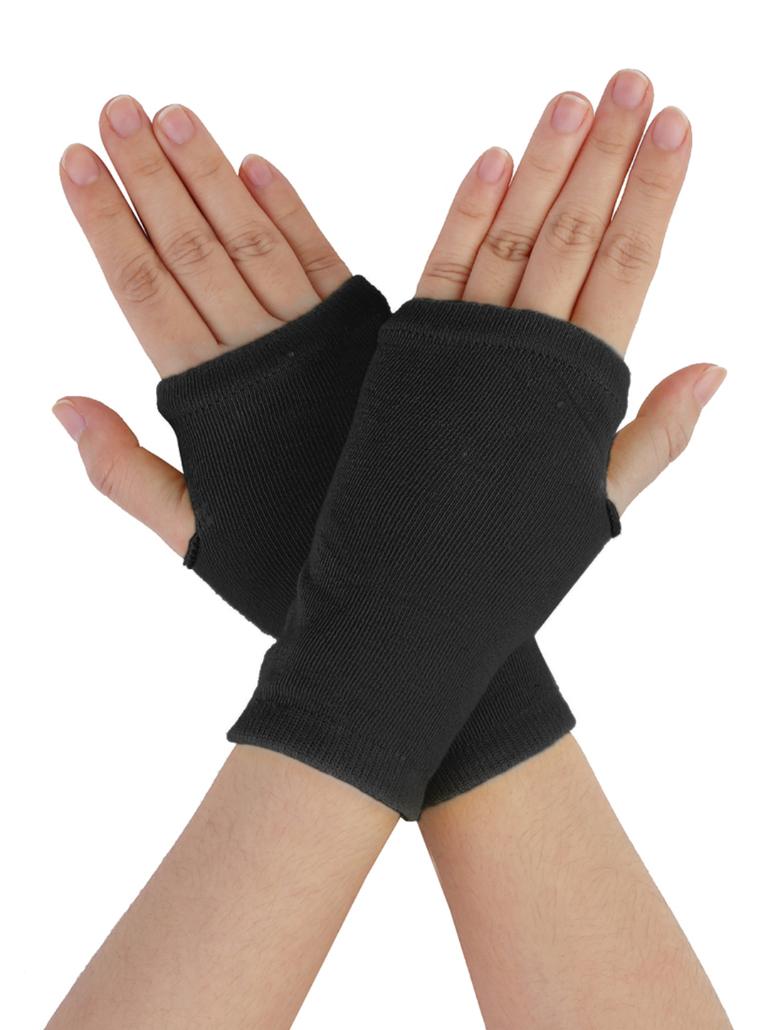 Pair Black Grid Fingerless Elastic Wrist Short Gloves Winter Mittens for Ladies