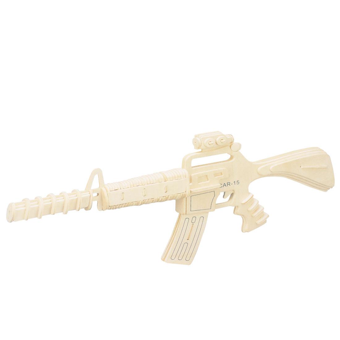 Children DIY Wooden Gun Model 3D Puzzle Toy Woodcraft Construction Kit