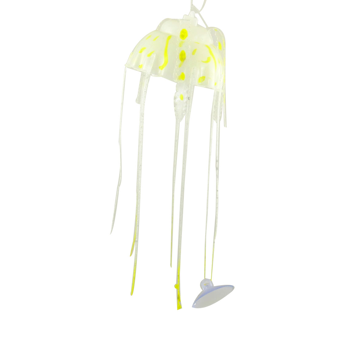 Emulational Soft Plastic Jelly Fish Ornament Yellow Clear for Aquarium Tanks